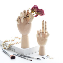 VILEAD 3 Size 7&10&12 Inch Wood Hand Figurines Rotatable Joint Hand Model Drawing Sketch Mannequin Miniatures Wooden Decoration 4 5 inch joints wood wooden mannequin toy wooden puppet wooden manikin home decoration model painting sketch cheap sale