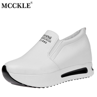 MCCKLE Female Slip On Elastic Band Platform Height Increasing Black White Autumn Wedges 2017 Women S