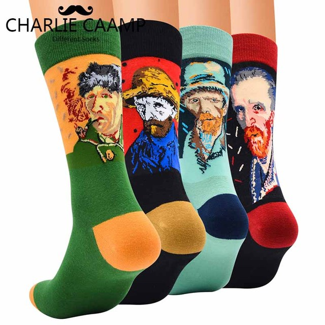 Autumn Winter Men New Color Matching Retro Art Ink Painting Pattern Series Men Fashion Trend Harajuku Happy Cotton Socks F230