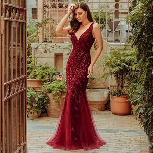 Image 4 - Robe De Soiree Ever Pretty Sexy Mermaid Evening Dresses Long Sparkle Draped Tulle Formal Dresses Elegant Women Party Gowns 2020