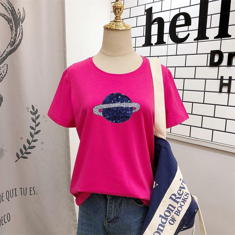 LAAMEI 2019 Summer New Fashion Planet Saturn Women Sequined T-Shirt Female Cotton Short Sleeve O-Neck Tops Tees Harajuku Tshirts