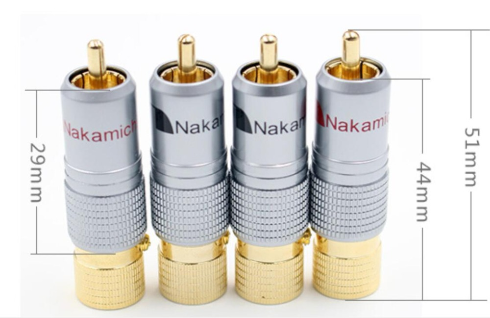 Hifi 8pcs Nakamichi 10mm Gold Plated RCA Plug Locking Non Solder Plug RCA Coaxial Connector Socket Adapter Factory High Quality