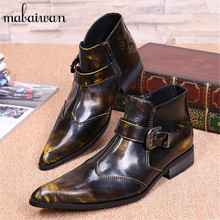 Fashion Bronze Genuine Leather Men Ankle Boots Pointed Toe Military Boots Wedding Shoes Cowboy Boots for