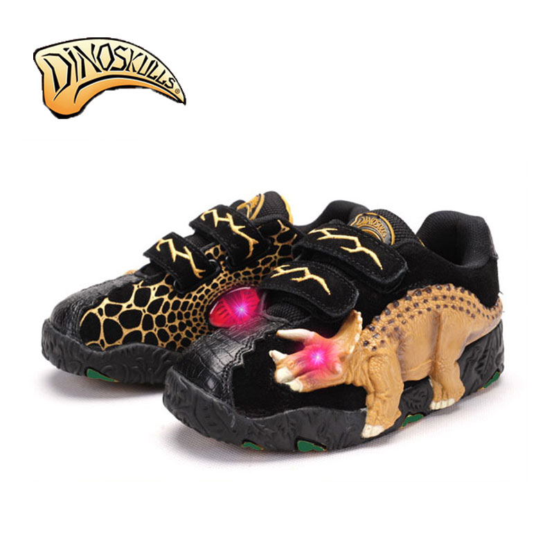 Dinoskulls Casual Shoes Kids Leather Boys Sneakers Sport Shoes Fashion Lighted Children 2017 Running Shoes 3D Dinosaur Shoes