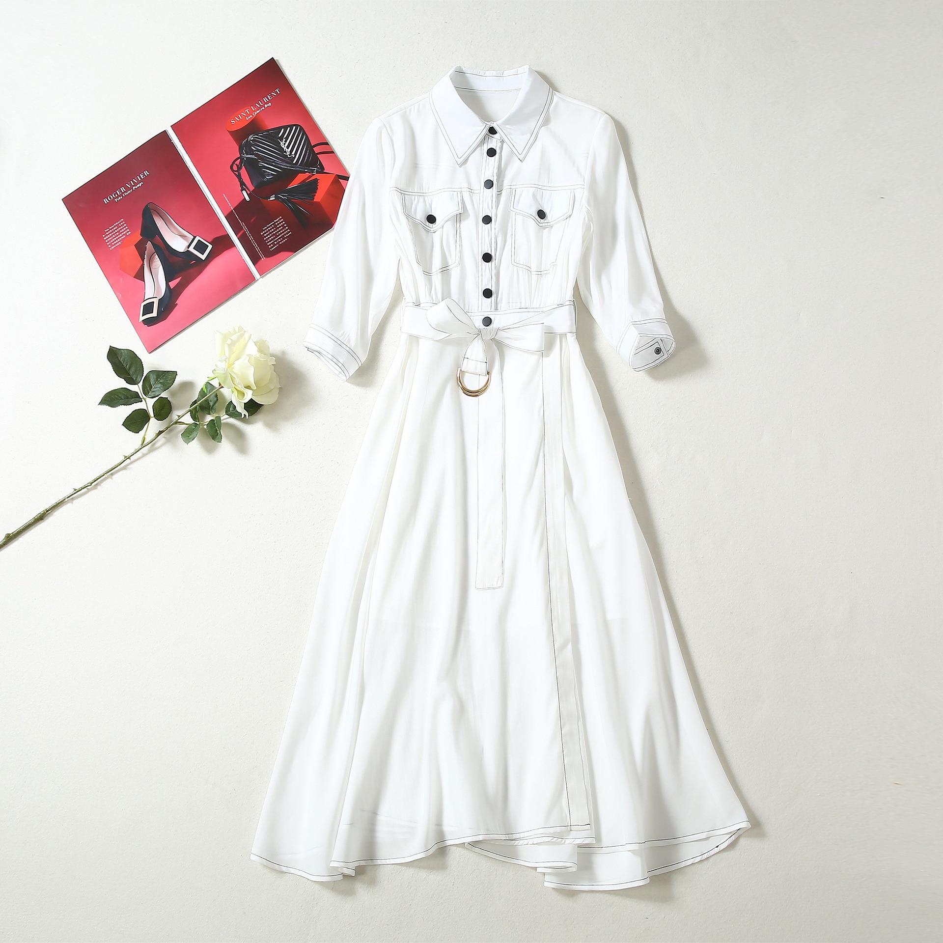 Outono Runway Designer Vestido de Mulheres de Alta Qualidade Turn down Collar Mangas 3/4 Plissadas Midi Vestido Elegante Das Senhoras Camisa Branca vestido