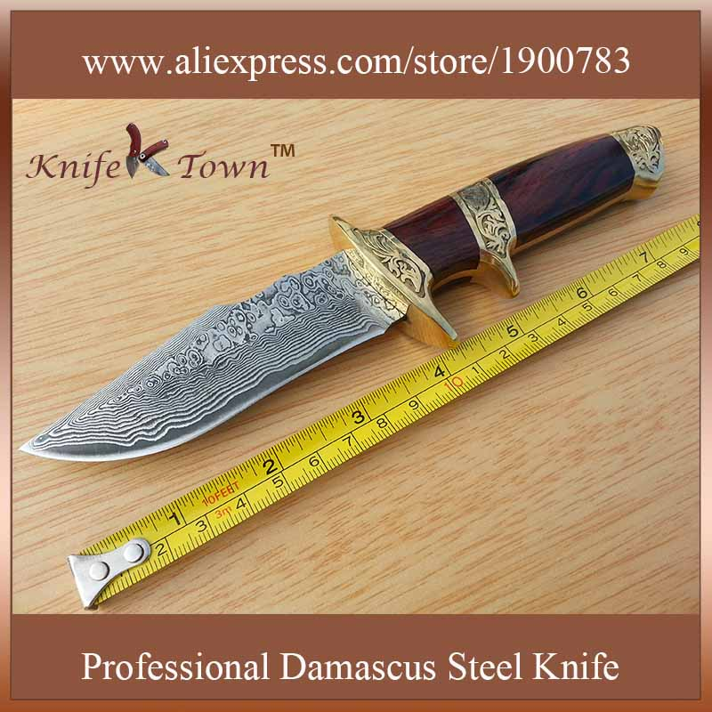 DT064 damascus font b knife b font wood and brass handle high quality outdoor fixed blade