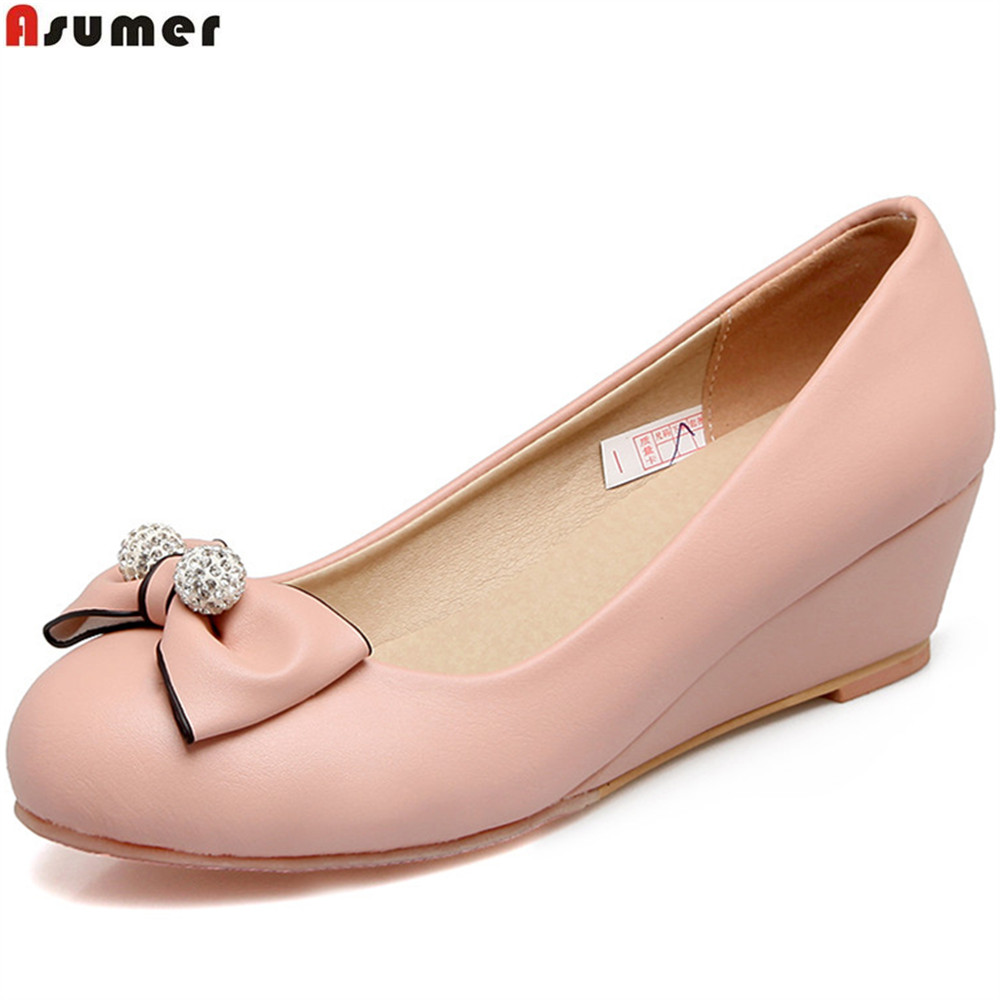 Asumer 2018 fashion spring autumn women shoes round toe pumps shallow wedges shoes round toe black pink beige high heels shoes asumer black gray beige fashion spring autumn shoes woman round toe shallow casual square heel shallow flock low heels shoes