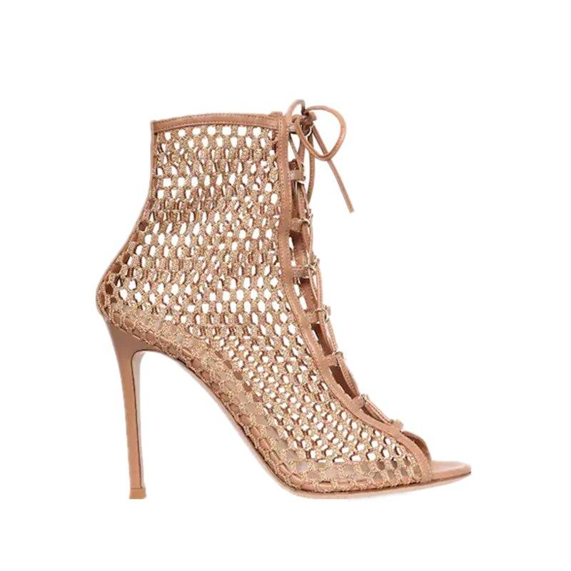 new hollow high heel women s Roman mesh lace sandals summer open toe high heel mesh