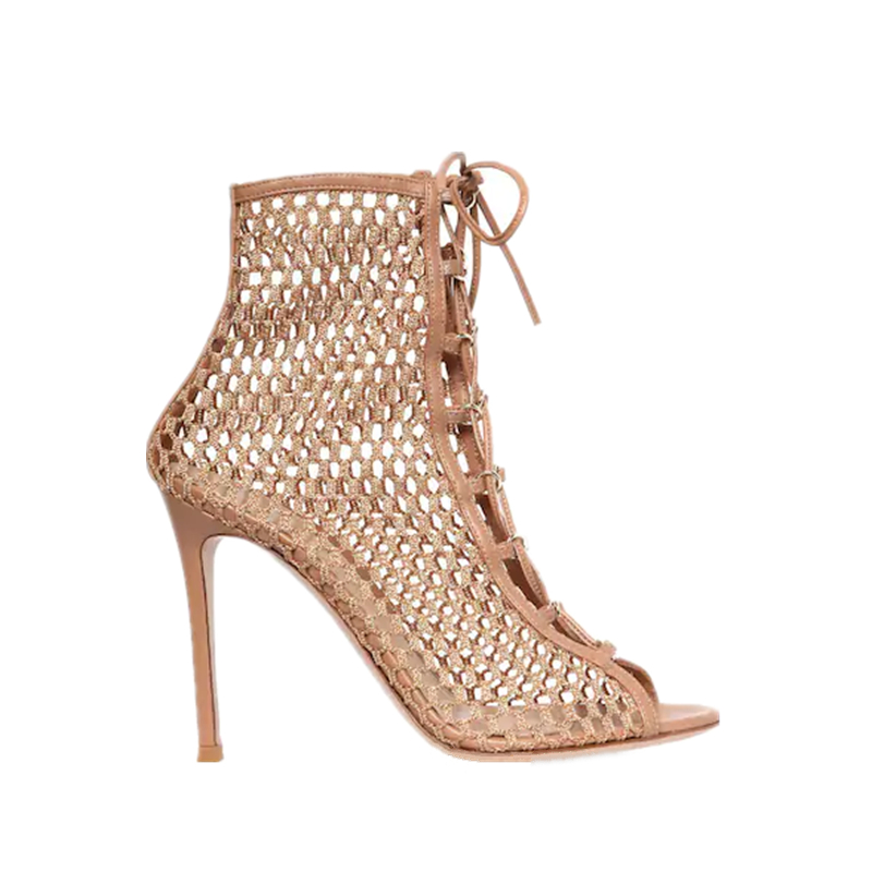 new hollow high heel women's Roman mesh lace sandals summer open toe high heel mesh sandals summer lace up high heel mesh sandal-in High Heels from Shoes    1