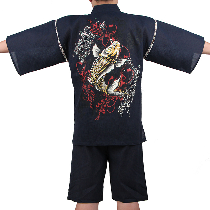 2018 Traditionelle Japanische Baumwolle Kimono Anzug Männer Kurzarm Fisch Gemusterten Pyjamas Sommer Stil Yukata Cosplay Kostüm A52507