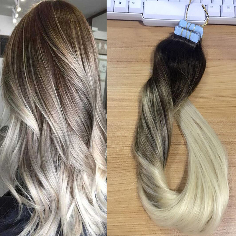 blonde ombre human hair balayage skin weft seamless hair extensions tape in hair extensions. Black Bedroom Furniture Sets. Home Design Ideas