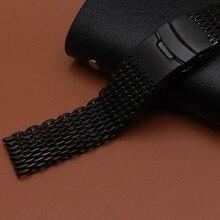 De Metal pulseira fivela seguro faixa de relógio Preto 18mm 20mm 22mm 24mm assista acessórios final especial para homens dobrar fivela de fecho