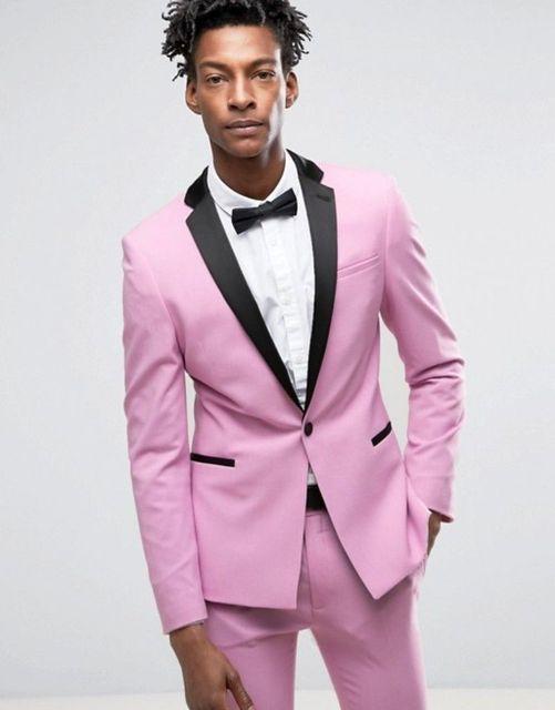 2017 new men suits Men\'s 1 Button Fashion Wedding Suits Pink 2 Pcs ...