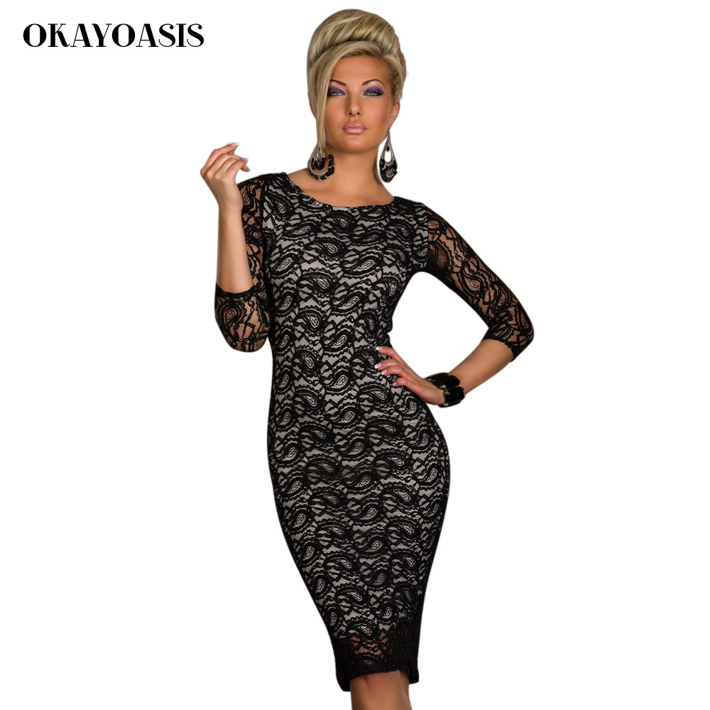 Onwijs OKAYOASIS Vrouwen Elegante Potlood Jurk Driekwart Mouwen Vestidos QM-11