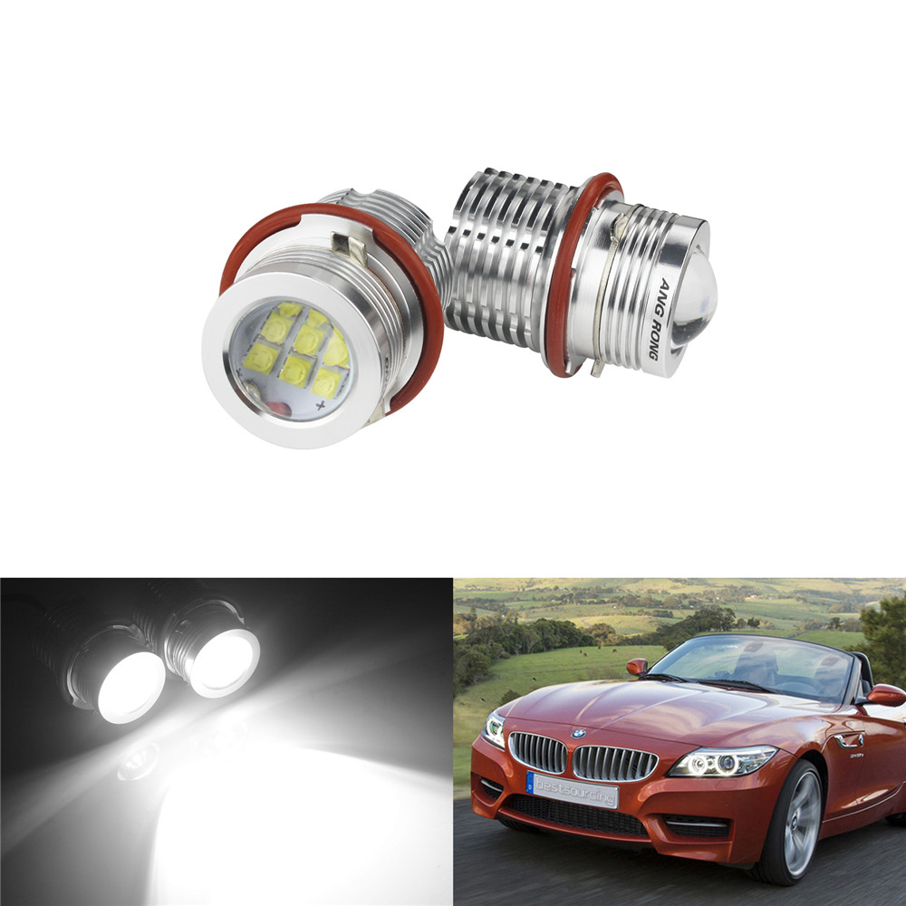 ANGRONG 2 C.ree SMD 9 LED 45W Angel Eyes Halo Ring Side Light DRL For BMW E39 E53 E60 E63 E65 цена 2017