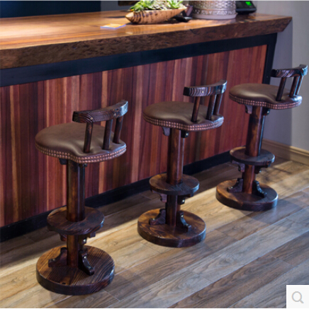 Europe Type Restoring Ancient Ways Is Carbonized Bar Chair Wood Real Wood  Tall Foot Chair Stool Leather Chair  In Bar Chairs From Furniture On ...