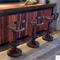 Tipo europa restaurar antigas formas é barra de madeira de madeira carbonizada alta de fezes cadeira cadeira de couro