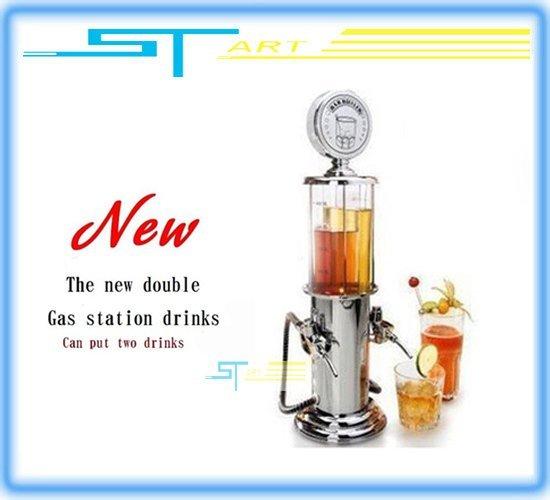 Hot ! NEW DOUBLE GUN Silver Liquor Pump Gas Station Beer Alcohol Liquid Water Juice Wine Soda Soft Drink Beverage