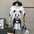 Mulheres Panda Dos Desenhos Animados Imprimir Camisetas Vestido Feminino Verão 2017 Harajuku Moda Casual Solto Plus Size Manga Curta Tee Tops Vestido