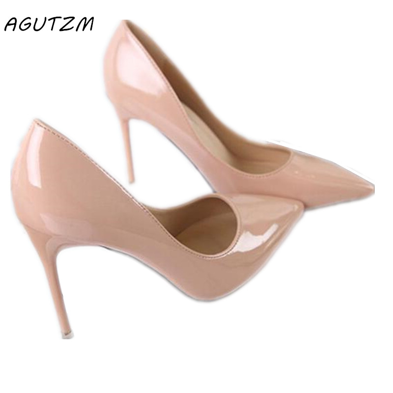 AGUTZM 2018 New Fashion Sexy Pointed Toe Women Pumps Platform 11cm High Heels Ladies' Wedding Nude Pumps Party Shoes ruru15070 to 218