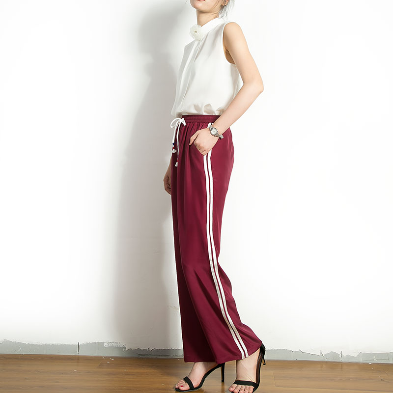 5a6bfe5b78cedc Natural Silk Pocket Pants Women Casual Loose 100% Mulberry Silk Sports  Trousers M L FREE SHIPPING