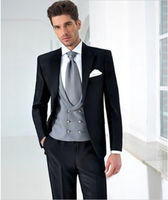 5pieces Black Suits Silver Vent Tie White Handkerchief Fashion Men Suits Bespoke Brand Clothing Formal Wedding