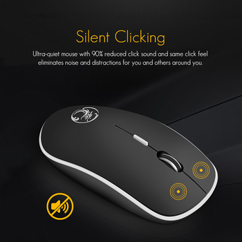 2.4Ghz Wireless USB Silent Noiseless Mouse 1600 DPI Ergonomic Mice for Laptop 1
