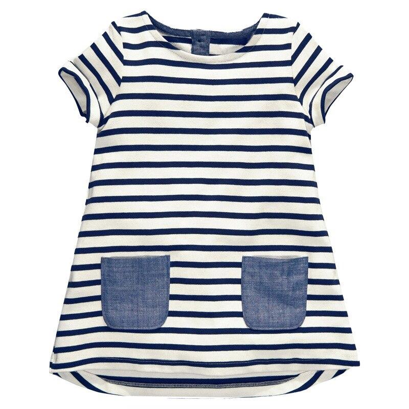 Neue Kinder Baby Mädchen Kurzarm Blau Streifen Elegante Sommer Kleid Baumwolle Casual Kleider Kinder Kleidung Tasche