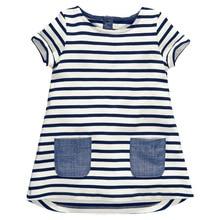 Новые детские для маленьких девочек короткий рукав синий в полоску Элегантное летнее платье Повседневные платья из хлопка детская одежда карман
