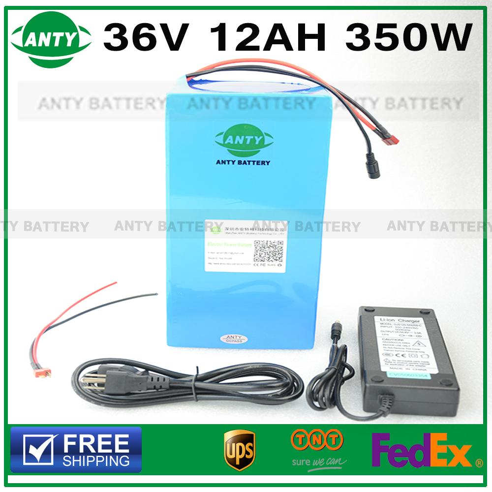 Lithium Battery 36v 12Ah 350W Electric Bike Battery 36V with 42v 2A charger,15A BMS 36v E Bike Battery Pack Free Shipping free customs taxes customized 72v 40ah lithium battery pack for e bike electric scooters ev e bikes with charger and 50a bms