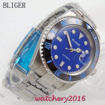 40mm Bliger blue Dial Sapphire Glass simple Stainless Steel Date adjust ceramic bezel Luminous Men's Automatic Mechanical Watch