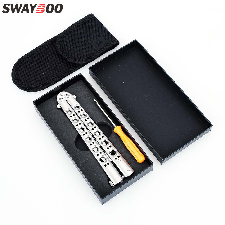 Swayboo NEW BM40 Stainless Steel folding knife butterfly Practice Butterfly in Training Knife latch knife butterfly trainer цена и фото