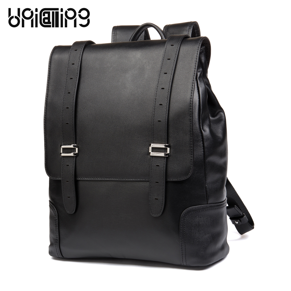 UniCalling men backpack leather fashion cover casual high quality cow leather male backpack leather backpack for laptop 14 inch men backpack leather fashion real cow leather backpack for men leisure men genuine leather 14 laptop backpack safe back zipper