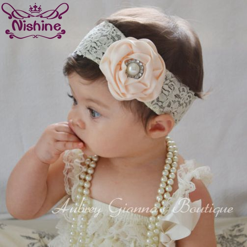 Nishine 1PCS Kids Lovely Girl Lace HairBand Pearl Rhinestone Flower Headband Rose Flower   Headwear   Hair Band Accessories