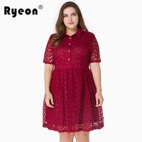 Ryeon גודל גדול שמלות תחרה נשים סקסיות Midi שמלה בתוספת גודל אדום שחור סגול שמלות סתיו קיץ עבור אמא של הכלה מסיבת 7xl