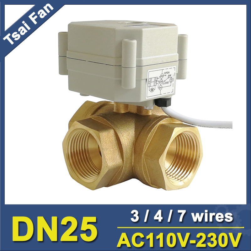 Tsai Fan Motorized Valve TF25 BH3 C 3 Way T/L Type Brass 1'' DN25 Horizontal Valve AC110V 230V 3/4/7 Wires For Flow Control
