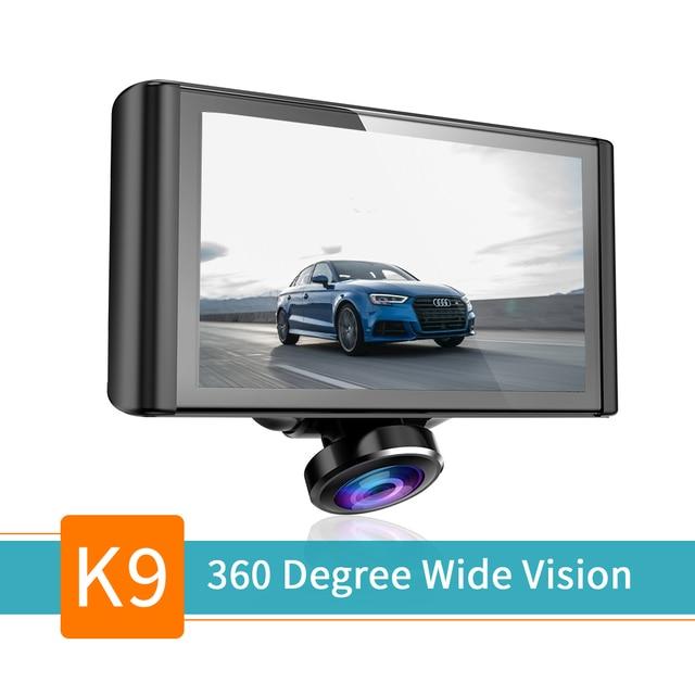 "360 Degree Dash Camera 2K Full View Car DVR Dashboard Video Recorder 5"" TouchaScreen G-Sensor Parking Monitor Loop Recording"