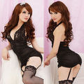 Mulheres Sexy Black White Babydoll Lingerie Nightie Lace Chemise Corset vestido
