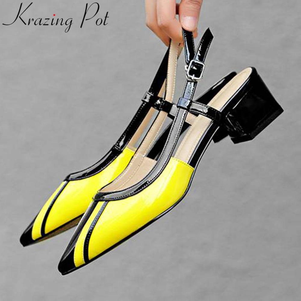 Krazing Pot mixed colors chunky med heels buckle strap large size slingback pumps pointed toe preppy