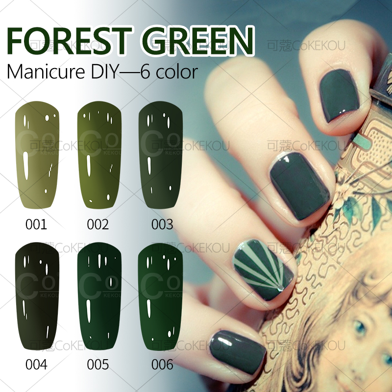 Navy Green Nail Polish: KoKEKOU Manicure Forest Green Nail Gel Lacquer