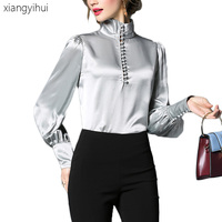 Office Lady Satin Silk Blouses Women Female Turtleneck Long Sleeve Shirt Casual Lantern Sleeve Single Buttons Tops and Blouses