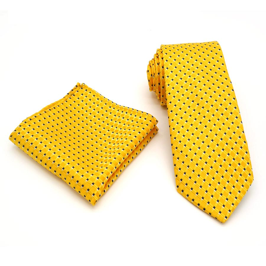 T215 Classic Men's Silk 8CM Luxury Ties Handkerchief Set Yellow Polka Dot Hanky Necktie For Men Wedding Business Party Christmas