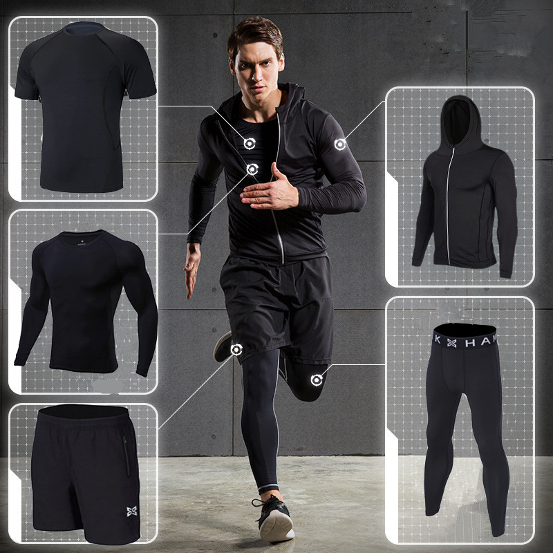 2018 sports running suit men Workout Tights fitness clothing sets quick dry hood basketball soccer gym training jogging suits 2017 autumn winter men s running sets 5 pieces compression fitness sports suits basketball tights clothes gym jogging sportswear