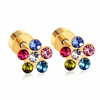 67eda5194 Cute Jewelry Gold/Silver Color Stainless Steel Flower Colorful Crystal  Earrings For Women/Girl