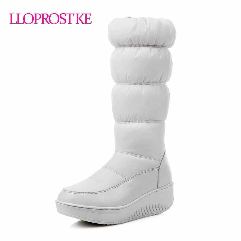 LLOPROST KE Frauen Stiefel Winter Warm Mid-Kalb Stiefel Für Frauen Plattform Schuhe Einfache Schnee Plüsch Unten Stoff Bota feminina GL061