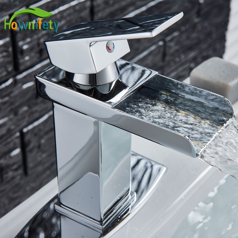 Waterfall Basin Faucet Chrome gold brushed Nickel orb Polished Deck Mount Bath Sink Faucet Hot Cold