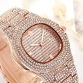 Роскошные женские часы  модные часы с розовым золотом  стразы  полностью из кристаллического сплава  Женские кварцевые наручные часы  женск...