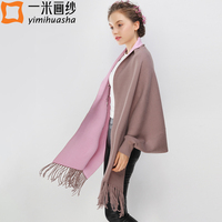 Winter Floral Embroidery Shawls For Women Long Tassels Scarves And Wraps High Quality Thicken Warm Cape