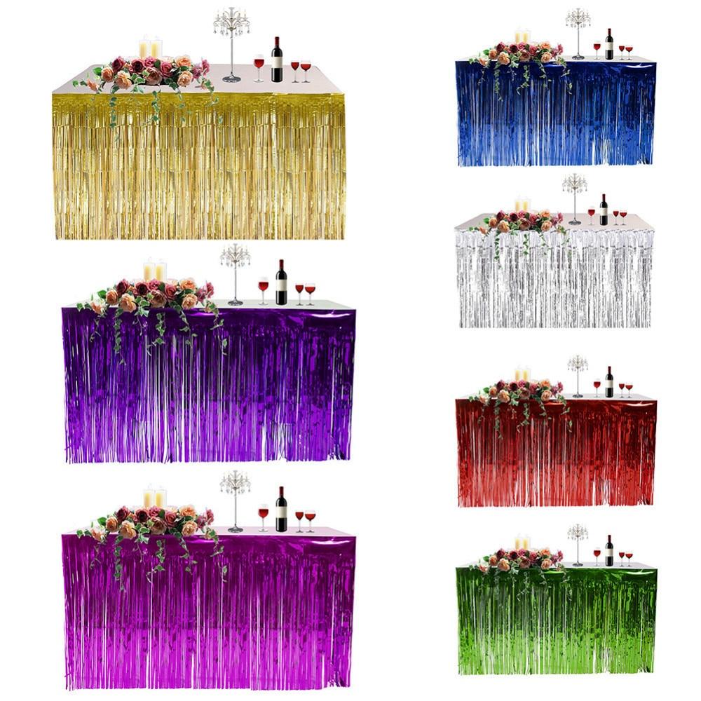 Colorful Hawaiian Tropical Party Table Decor Grass Skirt Curtain Summer Beach Party Decor Table Skirt Grass Holiday Supplies