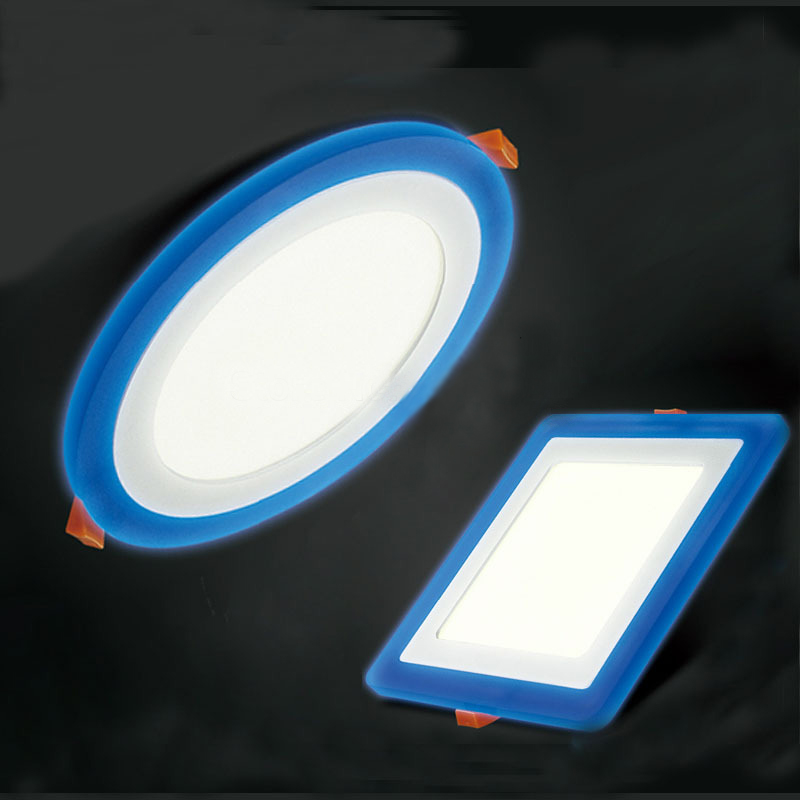 3 model round square blue white double color led panel light 6w9w16w24w ac85 265v recessed led ceiling downlight down lightsin downlights from lights